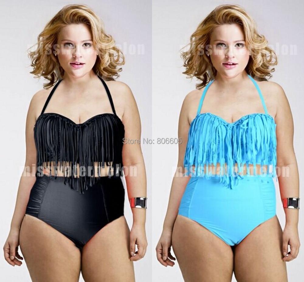 Sexy Women\'s Chubby Plus Size Tassel Bikini Hot Gi...