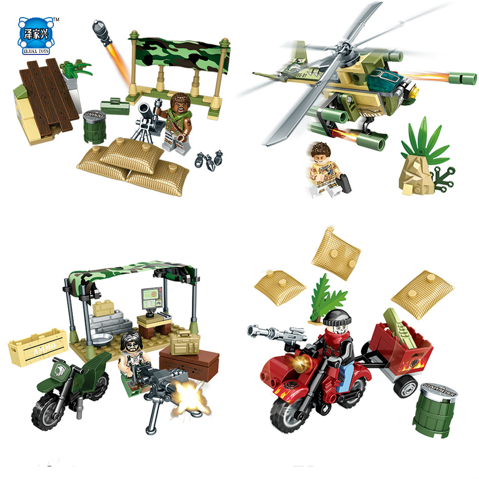 NEW Block 4 Styles Army Soldiers Military Helicopters Building Block Set LEPINS & Enlighten Toys for Children DIY Bricks Toy gudi 372pcs set military toy tank building blocks kids educational diy block sets army man weapons enlighten toys for children