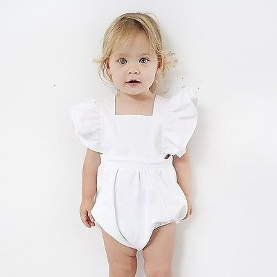 Summer 2017 Newborn Infant Baby Girl Romper Solid White Lace Romper Sunsuit Jumpsuit Outfits 2017 summer newborn baby girl white lace romper jumpsuit floral infant clothes outfit sunsuit