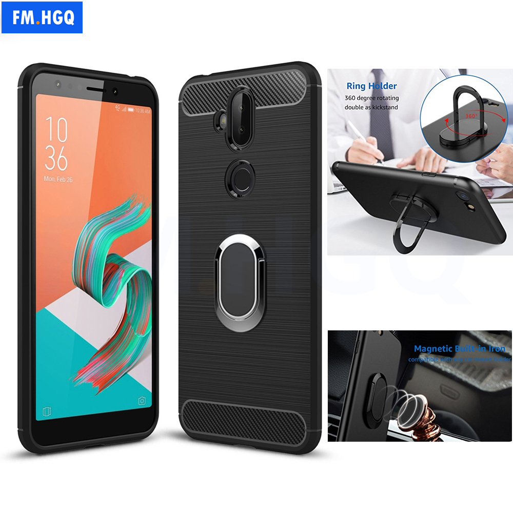 Soft TPU Carbon Fiber Cases for Asus Zenfone 5 Lite ZC600KL Magnetic Car Mount Ring Stand for Zenfone 5 Lite ZC600KL CASE Cover