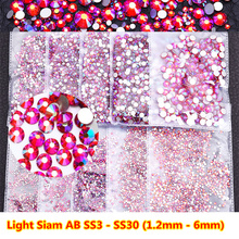 All Sizes Light Siam AB Red DIY Nails Decoration Non Hotfix Rhinestone Flatback Strass hot fix Stone for Garment