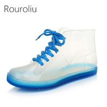 Rouroliu Women Cute Transparent Jelly Rain Boots Autumn Waterproof Lace-Up PVC Ankle Shoes Woman Wellies RB174