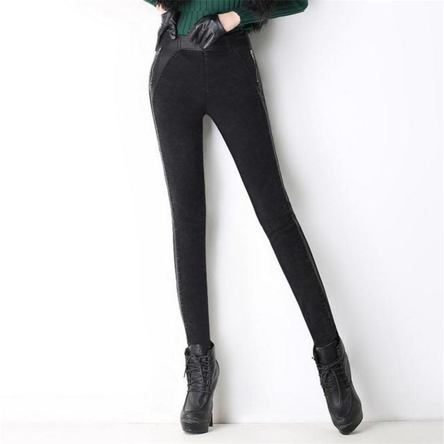 Winter Stretch Mid Leggings Skinny Plus Velvet Thick Jean Side Leisure Slim Black Warm Zipper Sexy Pencil Pants Trousers K075
