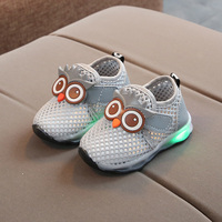 Toddler Baby Sneakers Luminous LED  Owl Mesh  Baby Shoes Sandals  Newborn Soft Bottom Shoesirst Walkers