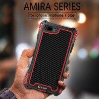 Shockproof Dustproof Carbon Fiber Gorilla Tempered Glass Aluminum Metal Armor Case For Iphone 7 6S 6