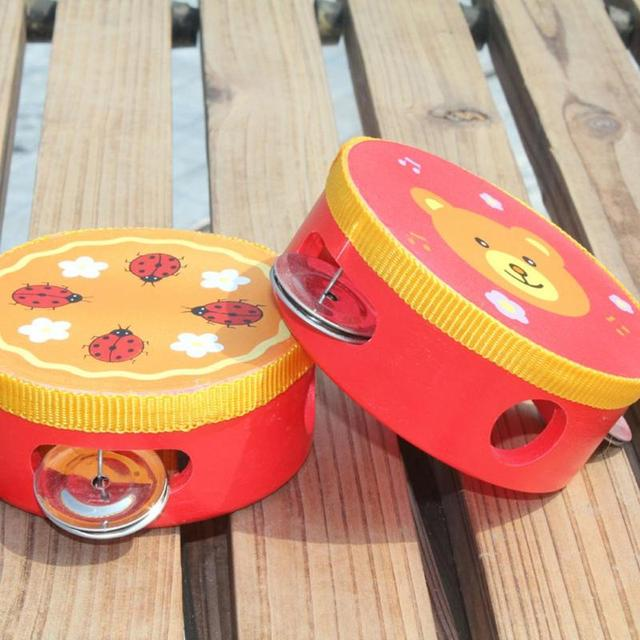 Children Musical Instrument Handbells Baby Drum Hand Bells Kids Music Sound Toy Cartoon Primt Educational Toys Baby Wooden Bells
