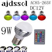 100PCS AC85V-265V E27 E14 GU10 MR16 RGB Bulb Candle lamp 9W LED RGB Spot light magic Christmas lighting+Remote Control 16 colors