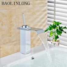 BAOLINLONG Brass Basin Bathroom Faucets Tap Vanity Vessel Sinks Mixer Deck Mount Waterfall Faucet стоимость