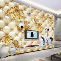Custom Large Scale Murals Luxury Jewelry Flowers White Swan Soft Package 3D TV Background Wall Non