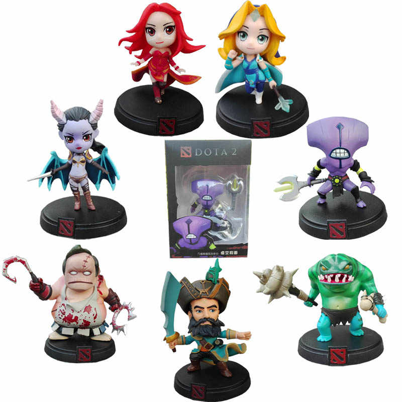 DOTA 2 Game Figure Crystal Maiden Kunkka Lina Pudge Queen Tidehunter Model 7pcs DOTA Collection PVC Action Figure toys in box