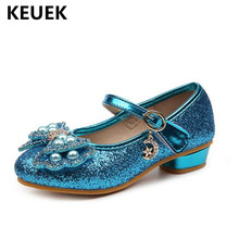 New Children High-heeled Shoes Girls Princess Butterfly-knot Bling Party Dance Leather Shoes Kids Baby Toddler Breathable 041 new girls shoes high quality japanned leather flats girls butterfly knot crystal decor hasp princess shoes sapato menina d108
