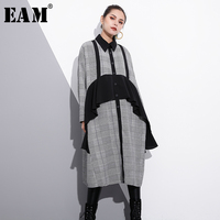 EAM 2018 New Spring Lapel Long Sleeve Black Plaid Ruffles Split Joint Solid Color Loose