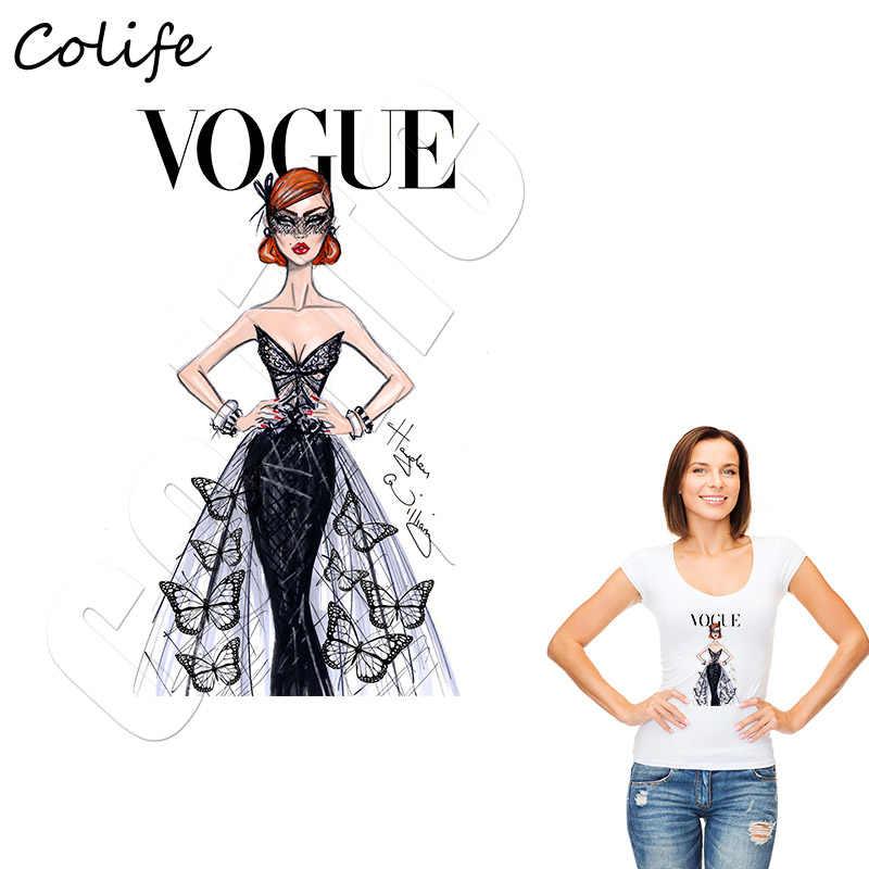 ขายร้อน Lady Elegant แพทช์บนเสื้อผ้า Vogue แฟชั่นอุปกรณ์เสริมที่กำหนดเอง Kawaii พิมพ์เหล็ก Heat Transfer สติกเกอร์