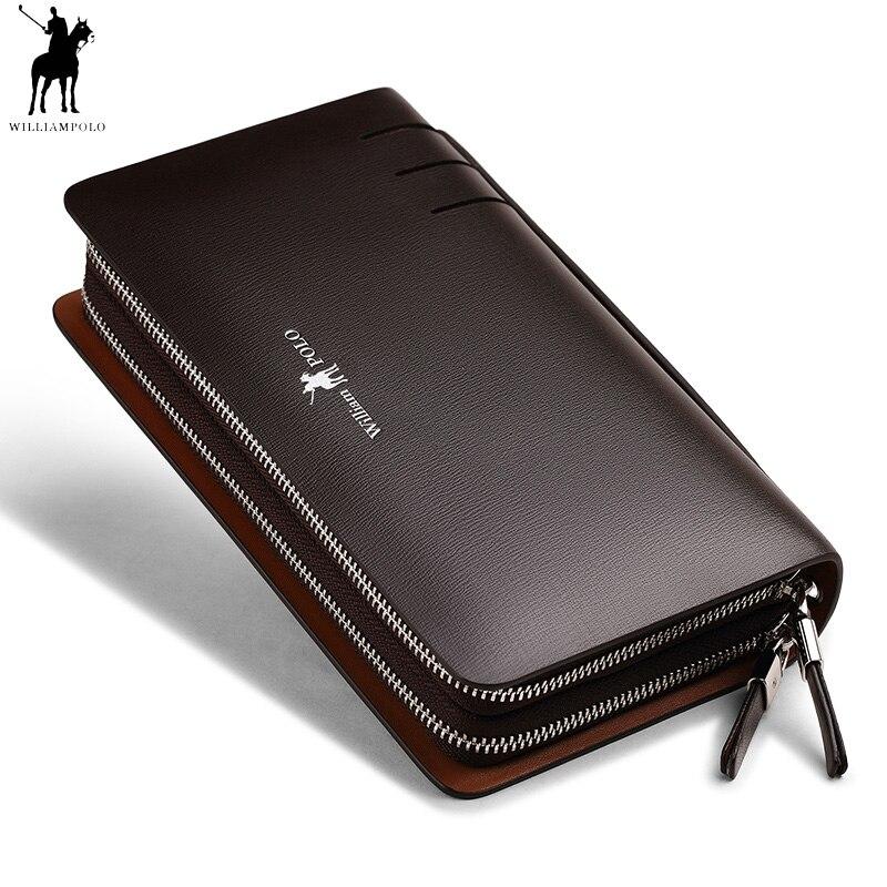 Модные для мужчин пояса из натуральной кожи клатч кошелек Williampolo двойная молния удобная сумка телефон кредитной держатель для карт Организ...