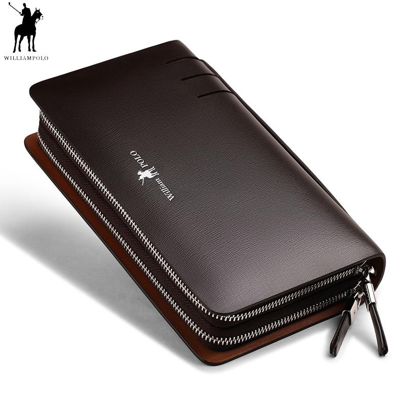 Mode Hommes En Cuir Véritable Embrayage Portefeuille Williampolo Double Zipper sac Pratique Téléphone Titulaire de la Carte de Crédit Organisateur Sac D'affaires