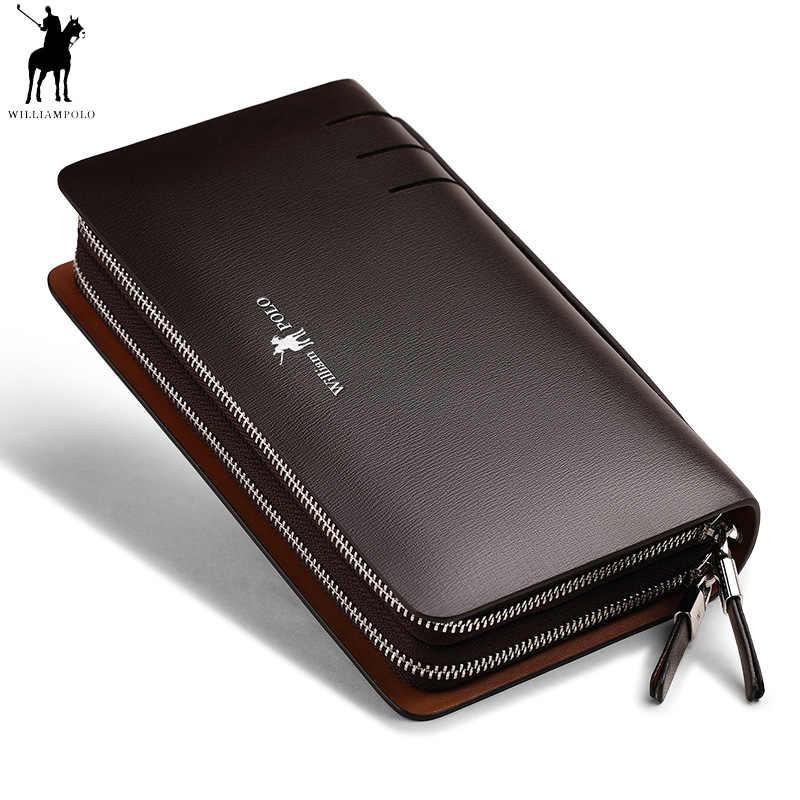 ce01a3d7369f Модные для мужчин пояса из натуральной кожи клатч кошелек Williampolo  двойная молния удобная сумка телефон кредитной