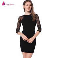 Berydress Elegant Womens Cocktail Party Sheer Long Sleeve Stretchy Lace Patchowork Sexy Clubwear Sheath Black Mini