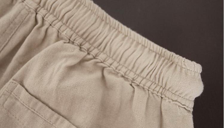 Pantalon pour hommes en lin et coton beige, zoom élastique