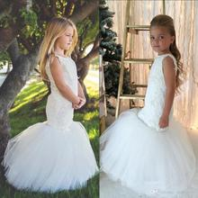 White Mermaid Tulle Flower Girls Dresses For Weddings Lace Applique Beads Little Girls Pageant Gowns Communion Dress FH49