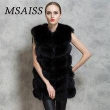 Msaiss бренд Для женщин Sleevel Мех пальто зимнее Для женщин длинный искусственный Лисий Мех Пальто и пуховики Мех ry Роскошные Для женщин S поддельные Меховая куртка Искусственный мех пальто