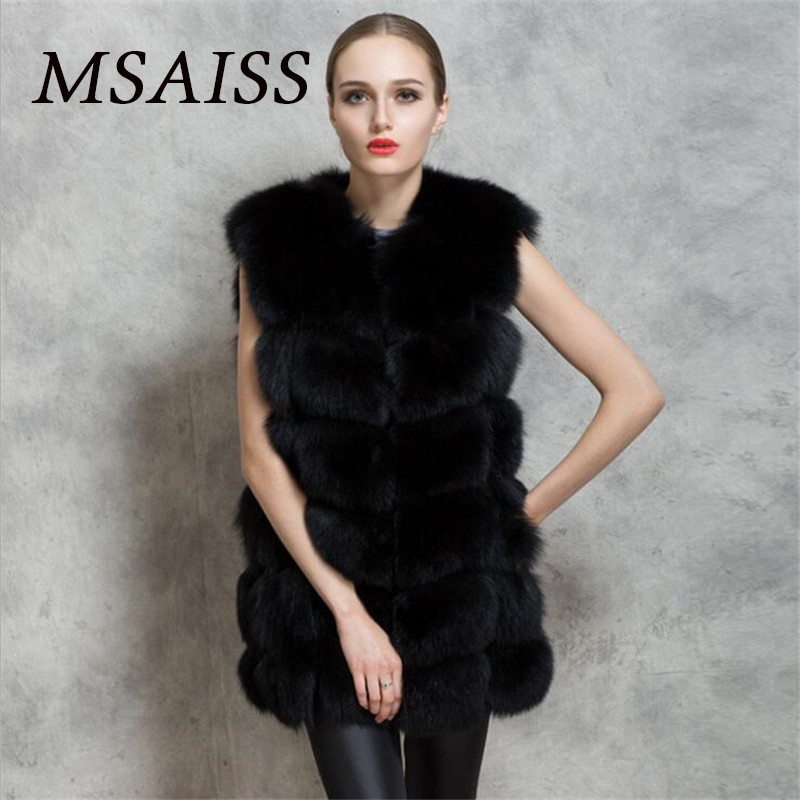 msaiss Brand Women sleevel Fur Coat Winter Women Long Faux Fox Fur Coats Furry Luxury Womens Fake Fur Jacket Faux Fur Coat pearl beading textured faux fur coat