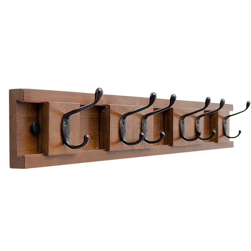 4 Hooks,Black Storage Rack Simple Shelf DIY Holder Wooden Iron With Hook Cloth Hanger Decoration Wall Mounted For Bedroom Home Kitchen Office