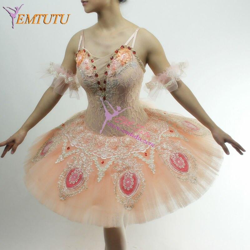 adult girls professional ballet tutu peach pink pancake platter classical ballet costume performance ballerina tutu ballet dress