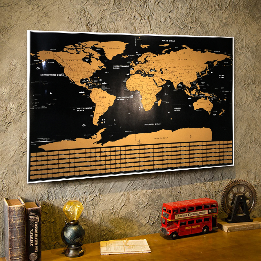 Deluxe World scratchable off Map Vintage poster Retro Ocean poster bar cafe pub home geography gift Travel adventure flag map