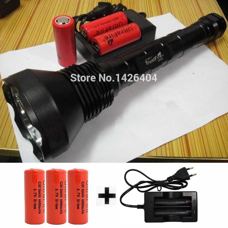 Powerful LED Flashlight 13000 Lumens 12x XM-L T6 LED Flashlamps Torch Light Lamp+3x 26650 Battery+Charger lamp for hunting 18000 lumen 15x xm l t6 led flashlight torch 15 t6 lantern 26650 flash light outdoor for hunting 4 26650 battery charger