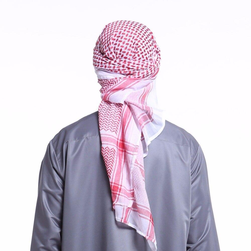 Musulman Chapeaux Pour Hommes Saoudite Homme Écharpe Musulman Hijab Écharpe Châle Arabe Keffieh Foulards Mode Turban Chapeau Abaya Islamique Vêtements