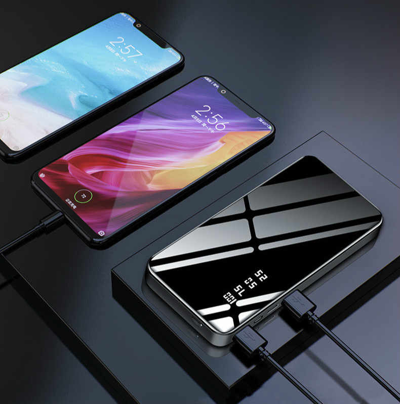 Быстрое зеркальное зарядное устройство Powerbank 30000 мАч LCDDual USB power Bank для xiaomi iPhone X 8 7 6s huawei p20 lite
