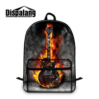 Dispalang Cotton Backpack In Women S Casual Daypacks Double Zipper 3D Printing Guitar Patterns On Rucksack