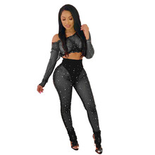 MUXU black sexy transparent two piece set cropped long sleeve top and pants women clothing