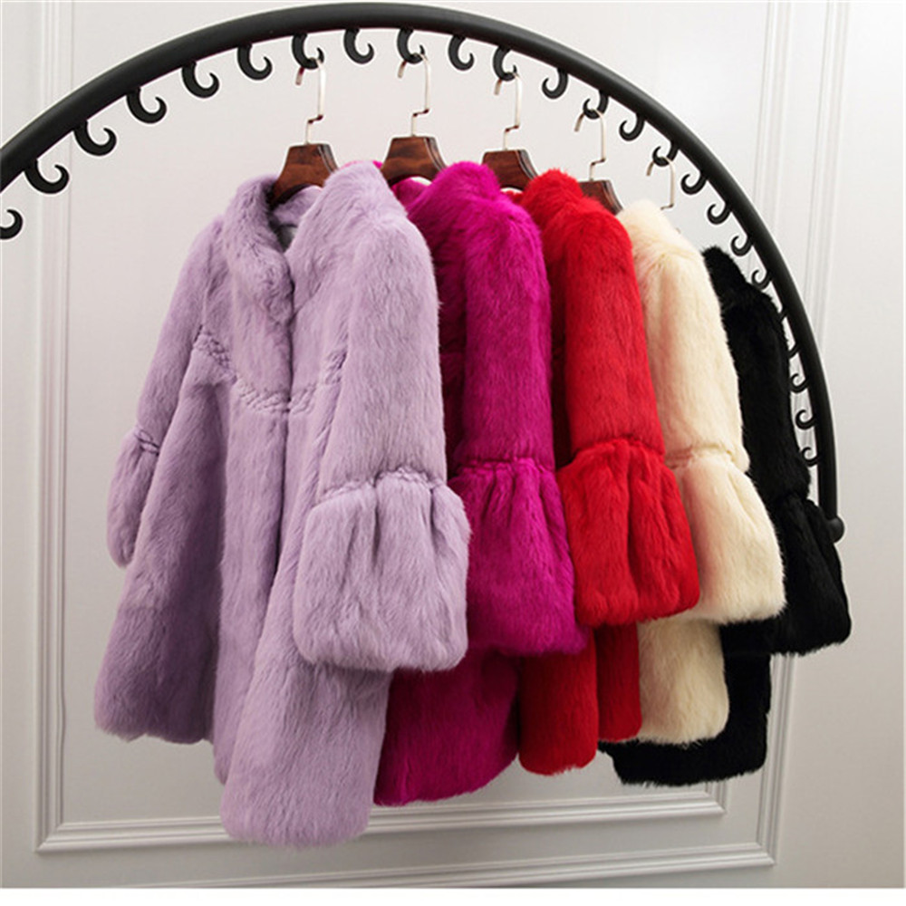 Ethel Anderson Women 100% Real Rabbit Fur 3/4 Sleeve Jacket Coat Hip-Length Overcoat Outwear Fashion Cute