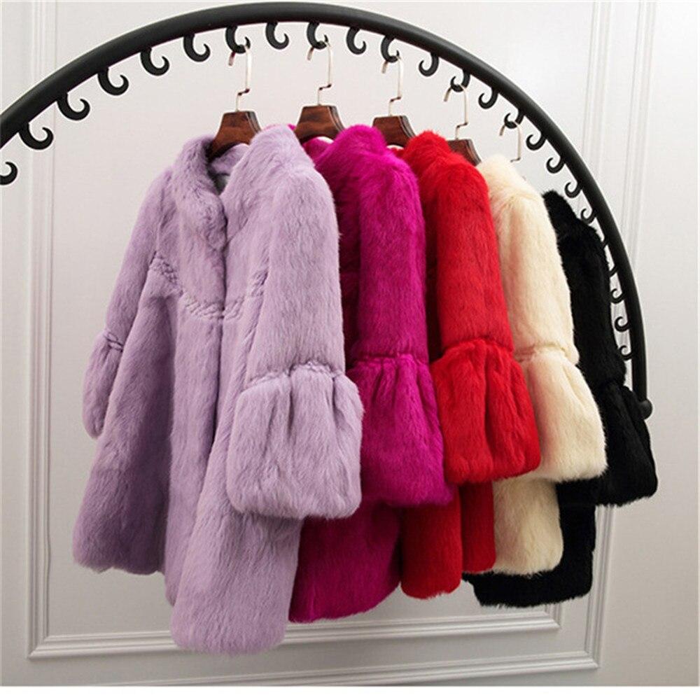 Ethel Anderson Femmes 100% Réel De Fourrure De Lapin 3/4 Manches Veste Manteau Hip-Longueur Pardessus Outwear De Mode Mignon