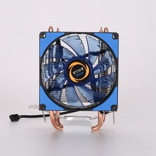 CPU Cooler 2 Heatpipes Blue LED CPU Fan Cooling Fans Computer Fan Coppery Aluminum Heatsink for LGA 775/115x/AM2/3/4 x79 free shipping for amd phenom x4 9950 quad core am2 2 6g clocked 65nm desktop computer cpu