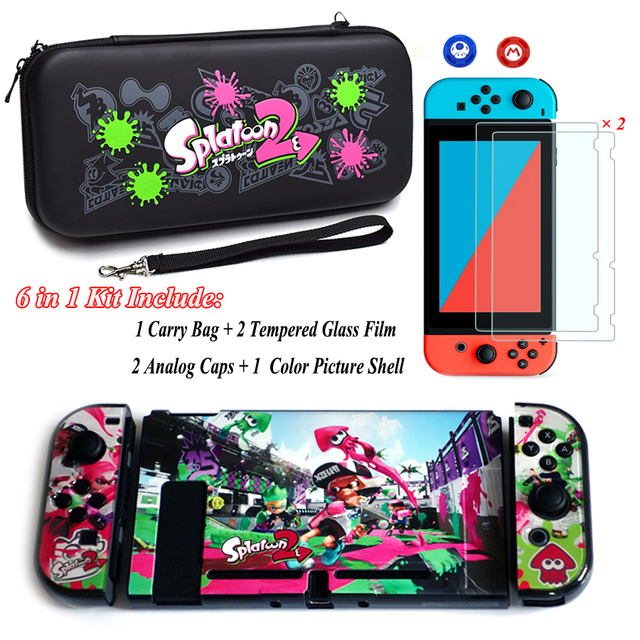 Nintend Switch NS Accessories Carry Bag + 2 Tempered Glass Film + PC Shell Case + Analog Caps for Nintendo Switch Game Console 1
