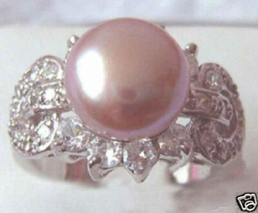 จัดส่งฟรี> >>>ลาเวนเดอร์มุกแหวนผีเสื้อขนาด: 7 8 9