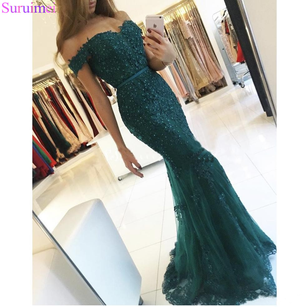 Off Shoulder Formal   Prom   Gowns 2018 Lace Appliques Beaded Mermaid Long Emerald Green   Prom     Dress   Tulle Robe De Soiree