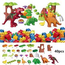 Dino paraíso jurássico dinossauro mundo vale blocos de construção tijolos animais brinquedos para crianças compatíveis com duploed crianças presente
