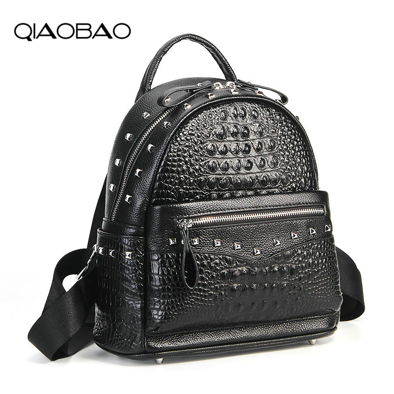 QIAOBAO Luxury Alligator Genuine Leather Backpack Women Bags Preppy Style Backpack Girls School Bags Fashion Cowhide Leather Bag qiaobao qiaobao japan and korean style genuine leather women backpack vintage school backpack for girls brand designer bags best