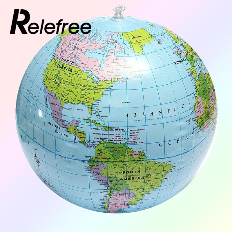 цена на 2017 Hot Sales 30CM Inflatable PVC World Globe Earth Map Teach Education Geography Toy Map Balloon Beach Ball Beach