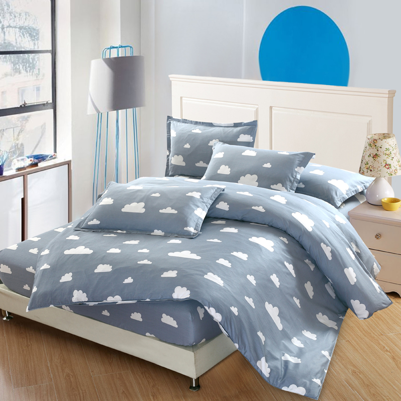 luxury 4pcs bedding sets pure cotton cartoon white clouds duvet cover sets twin full queen king. Black Bedroom Furniture Sets. Home Design Ideas