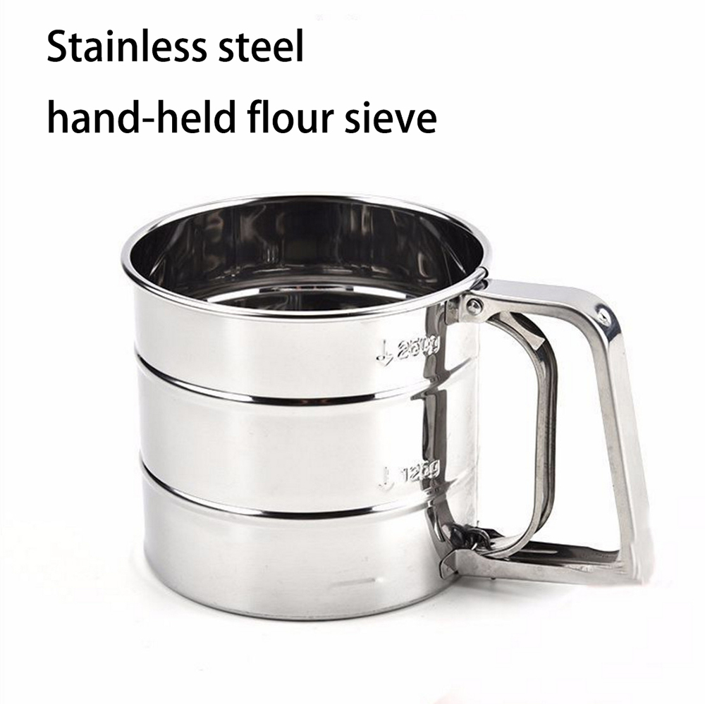 Hot Sale Stainless steel hand-held fine mesh flour thickened manual icing sugar sieve baking tools kitchen cooking appliances