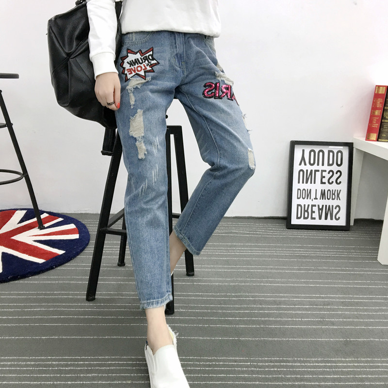 ФОТО 5xl plus big size denim jeans panty women spring autumn winter 2017 feminina thin hole jeans trousers fashion female A2403