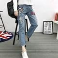 5xl plus big size denim jeans panty women spring autumn winter 2017 feminina thin hole jeans trousers fashion female A2403