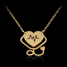 Doctor Nurse Gift Heart ECG Stethoscope Necklace & Pendant For men/women Rose Gold Silver Necklace Alloy Chain Choker