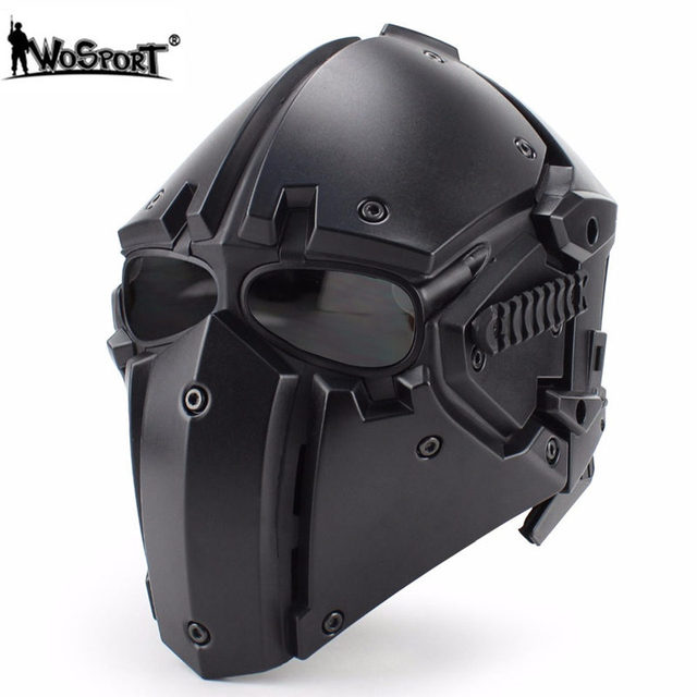 WoSporT Tactical Sports Safety Helmet OBSIDIAN GREEN GOBL TERMINATOR Helmet&Mask Goggle for Hunting Paintball Military Helmets