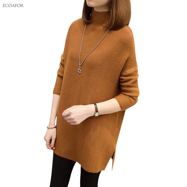 881bac2f65 Oversize Sweater Women Casual Thicken Warm Knitted Pullovers Female Fashion  Solid Color Jumper Knitting Loose Turtleneck Sweater