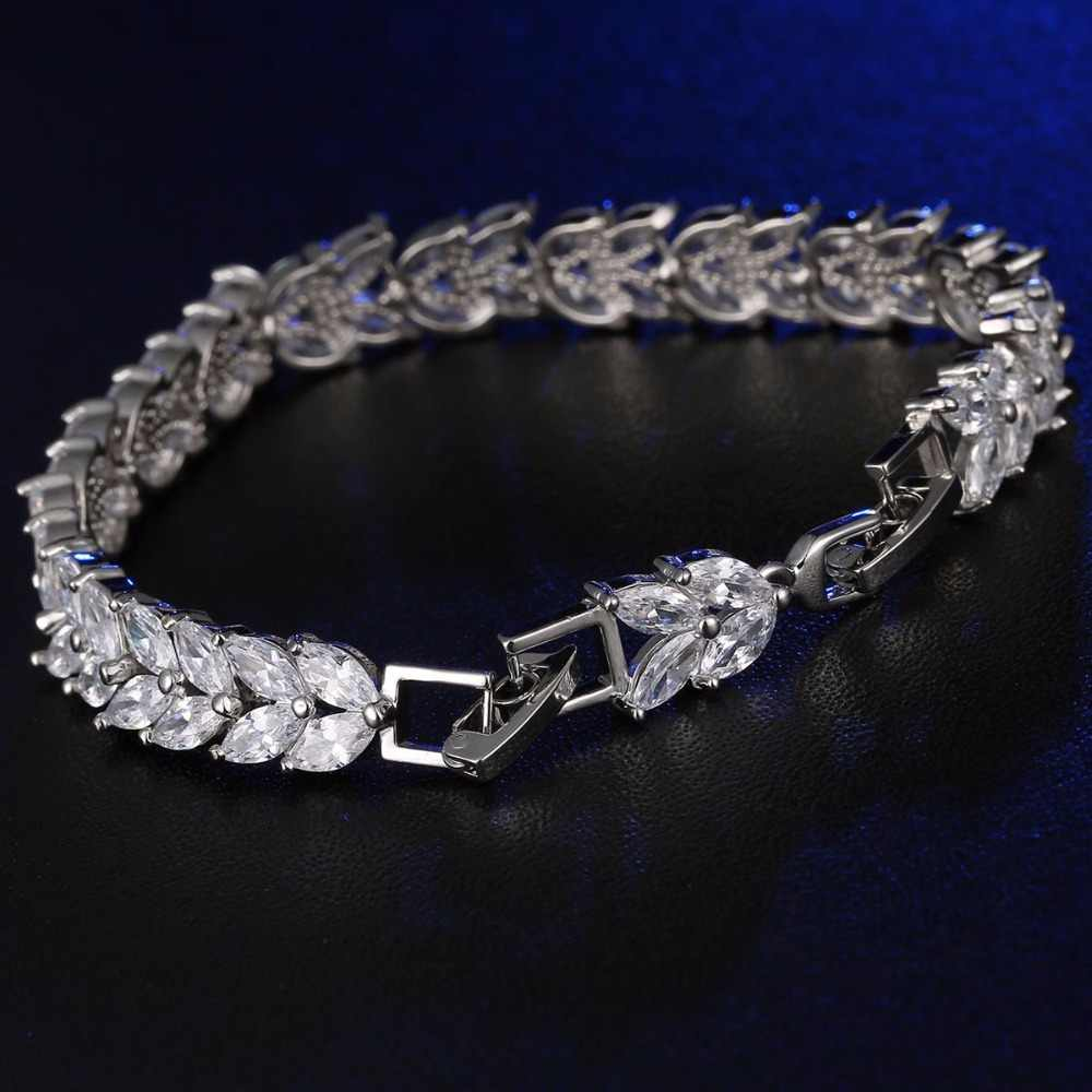 CARSINEL luksusowe Mona Lisa różowe złoto kolorowa bransoletka dla kobiet kształt liści AAA CZ cyrkon bransoletki biżuteria Br0124